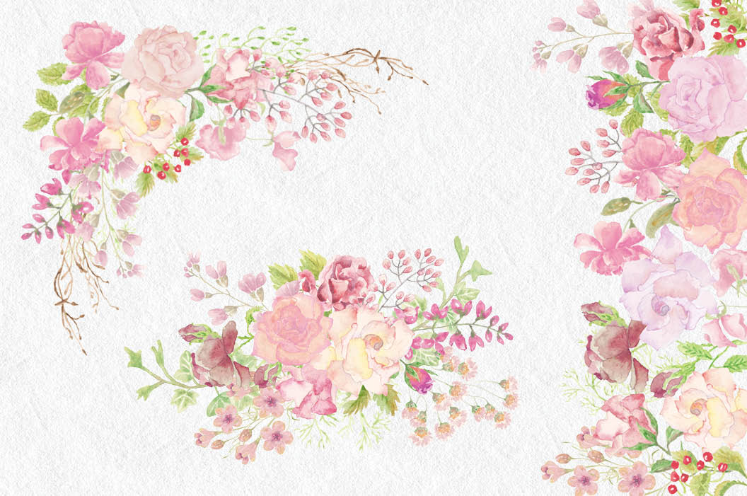 Watercolor wedding. Clip art bundle blush