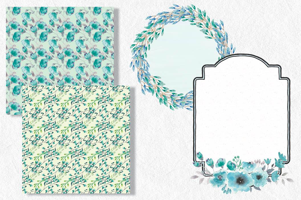 Watercolor clip art bundle: turquoise blooms – Lolly's ...