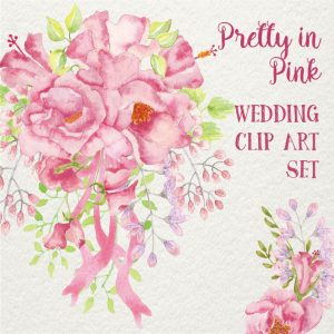 pretty-in-pink-wedding-clip-art-set
