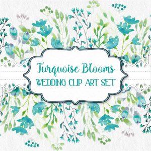 turquoise-wedding-clip-art-set