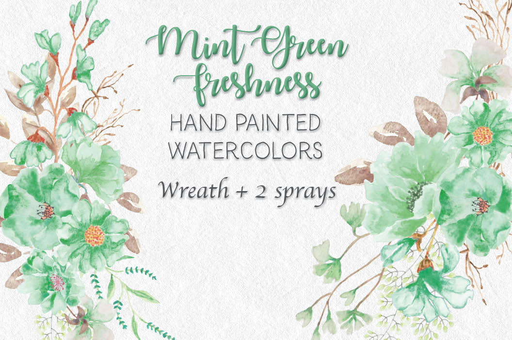 "Watercolor clip art wreath: ""Mint green freshness"" – Lolly ..."