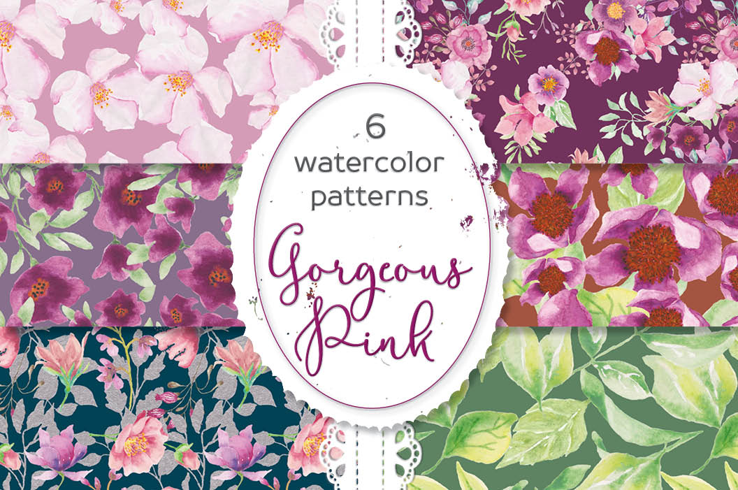 """Watercolor Floral Patterns """"Gorgeous Pinks"""" Lolly's Lane Shoppe Magnificent Floral Patterns"""