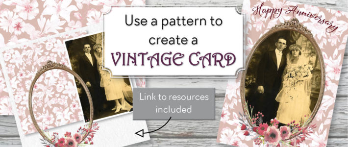 Use a pattern to create a vintage card